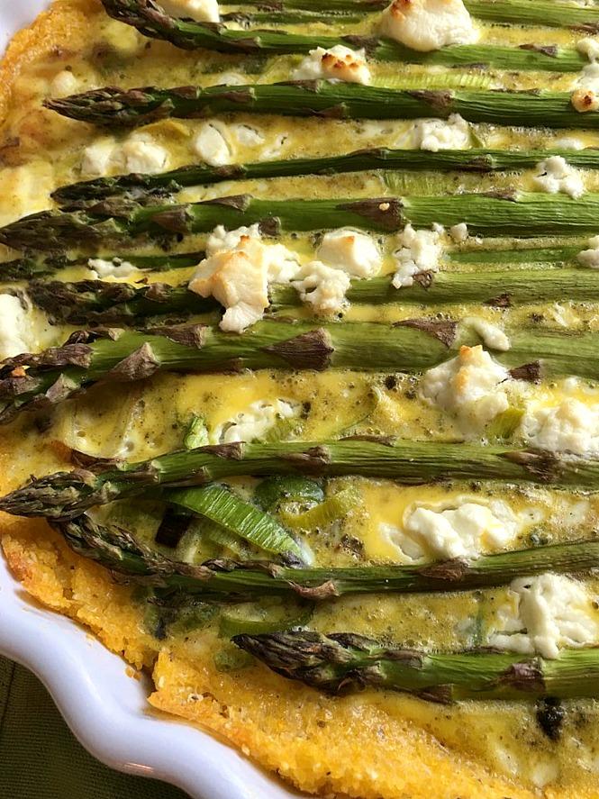 asparagus and leek tart with parmesan polenta crust 1