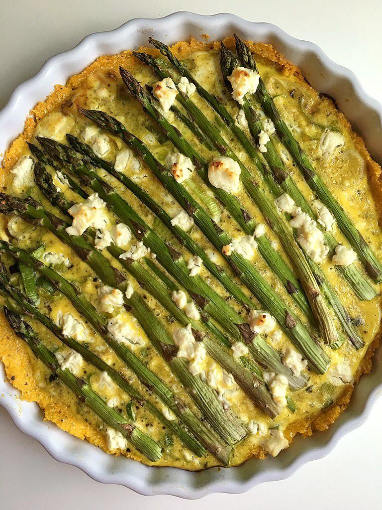 asparagus and leek tart with parmesan polenta crust 2