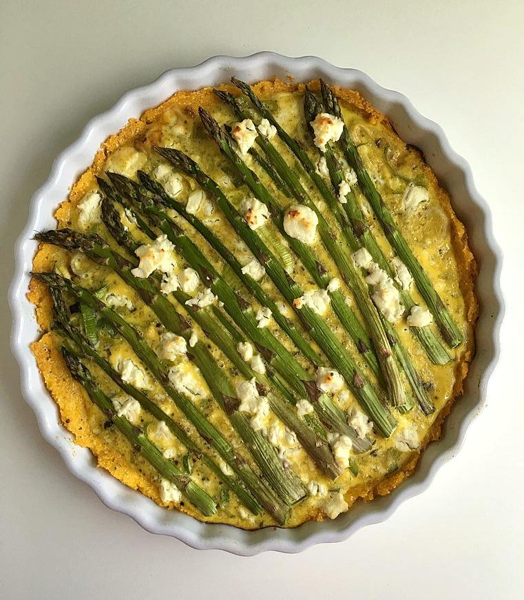 asparagus and leek tart with parmesan polenta crust 4