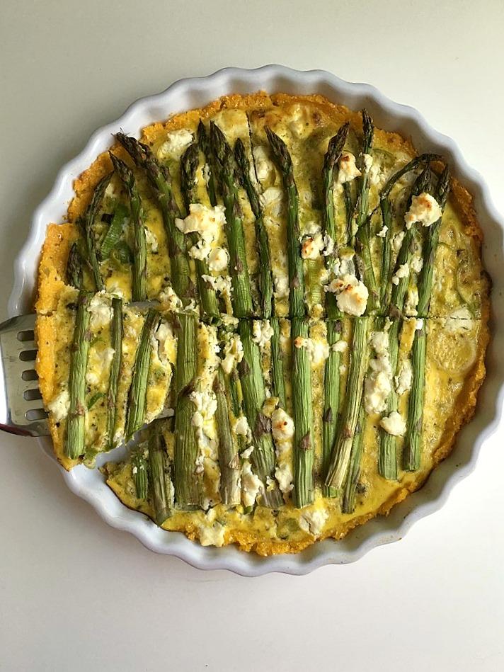 asparagus and leek tart with parmesan polenta crust 5