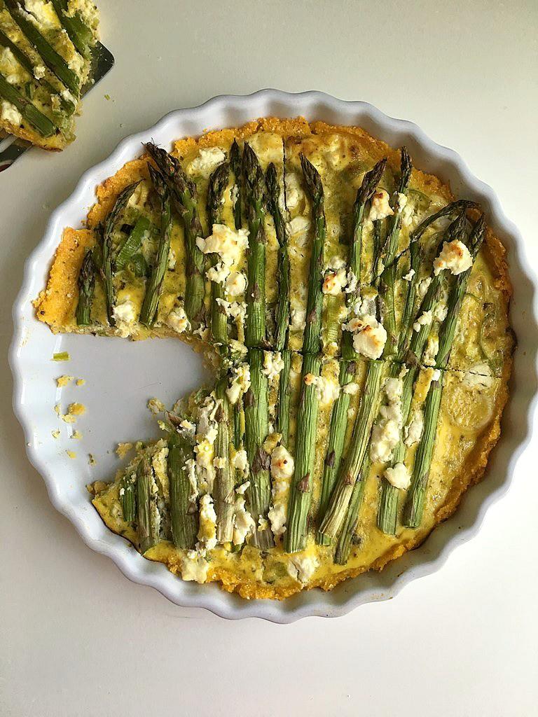 asparagus and leek tart with parmesan polenta crust 6