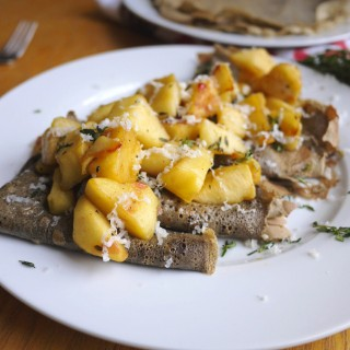Buckwheat Crepes with Caramelized Apples, Gouda, and Fresh Thyme