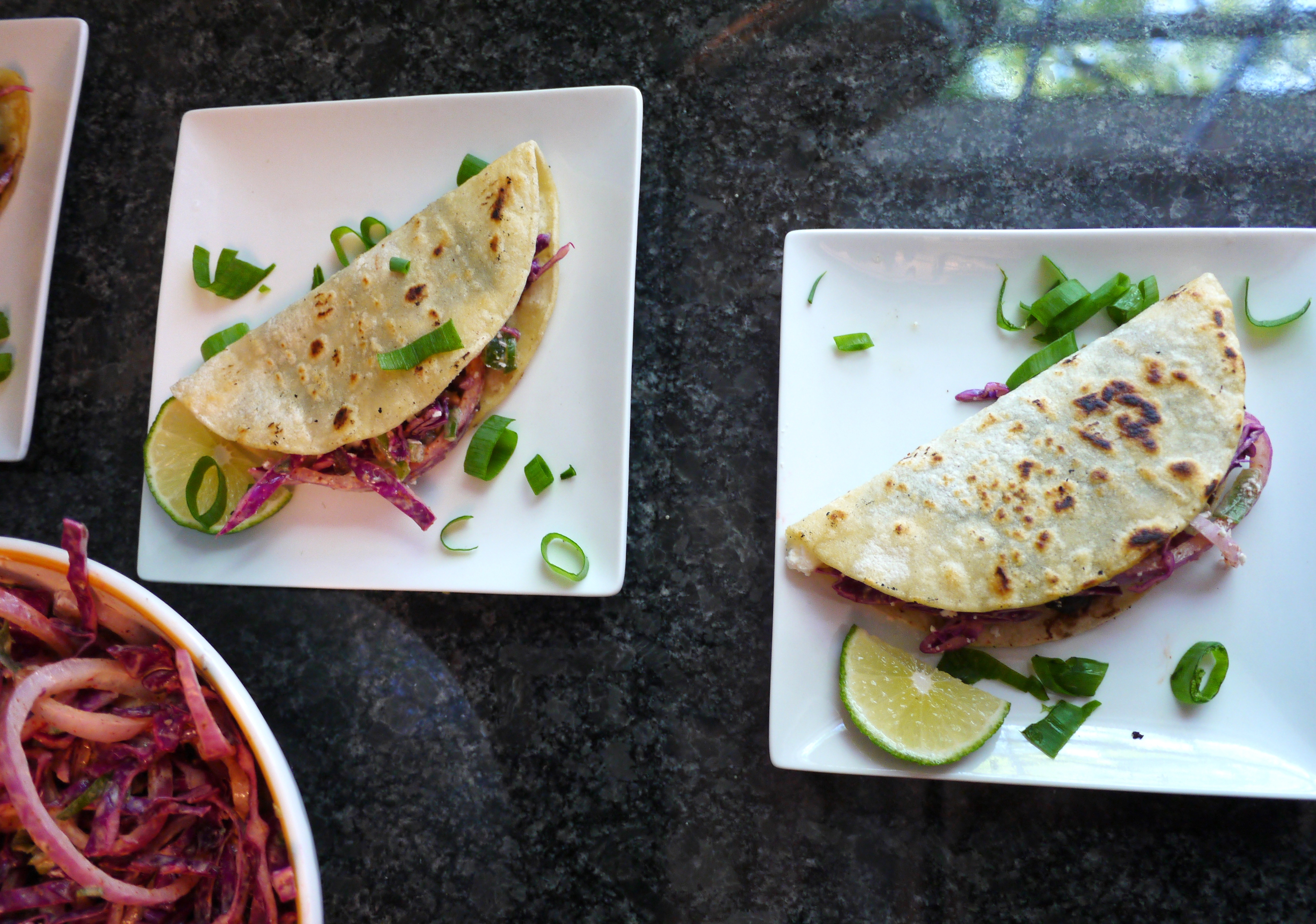 Crispy Black Bean Tacos with Feta and Spicy Lime Cabbage Slaw