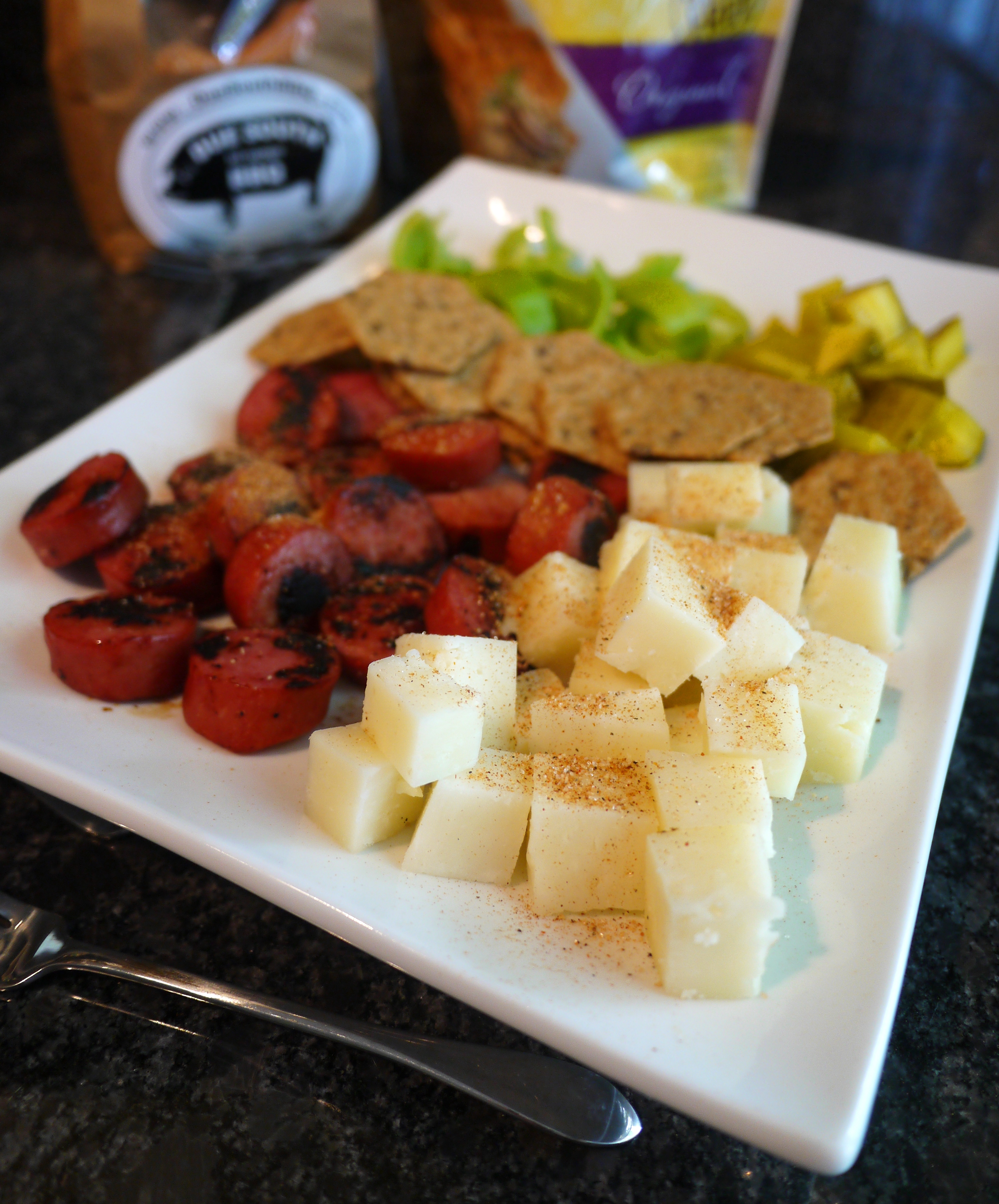 First I swapped in lower-fat turkey sausage for the regular sausage. Honestly once you brush the sausage with the BBQ sauce sauté it up and top it ... & Memphis Makeover: Sausage and Cheese Plate