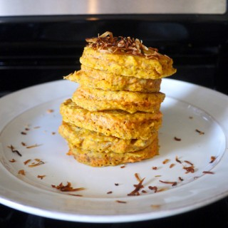 Carrot Cake Pancakes with Toasted Coconut