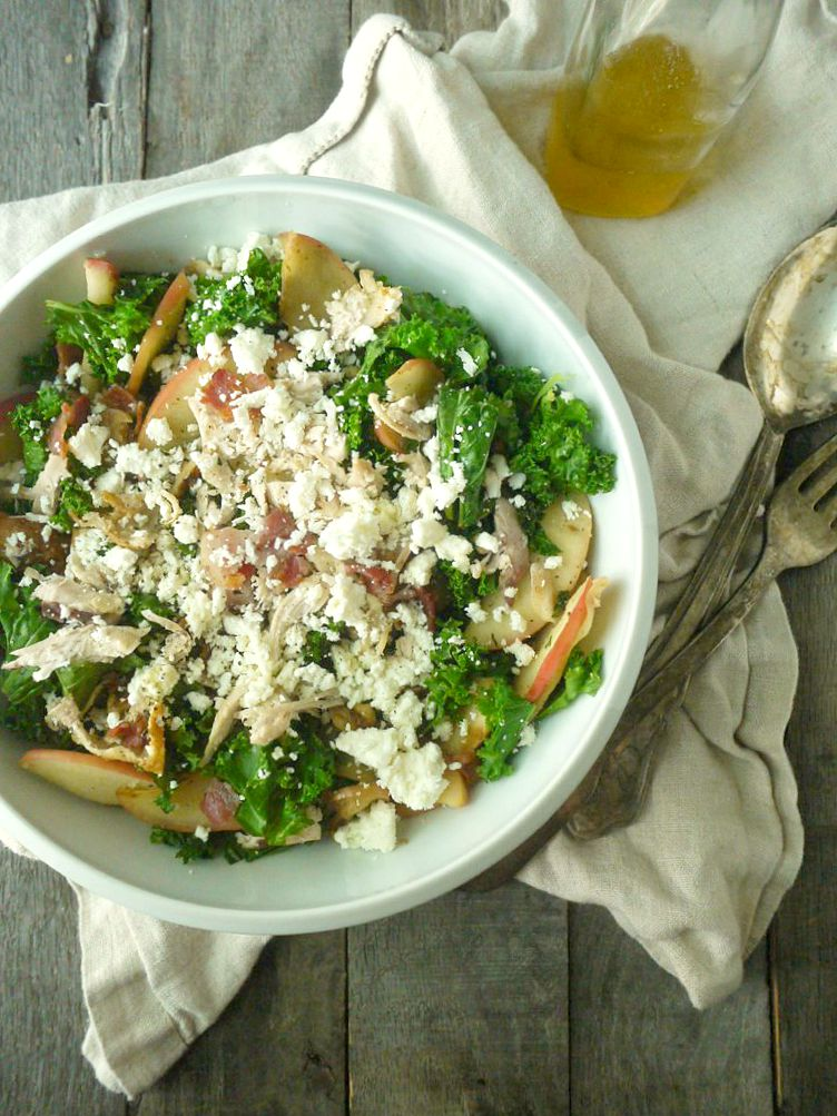 Chicken and Kale Salad with Bacon-Fried Apples and Walnuts 1 adjusted