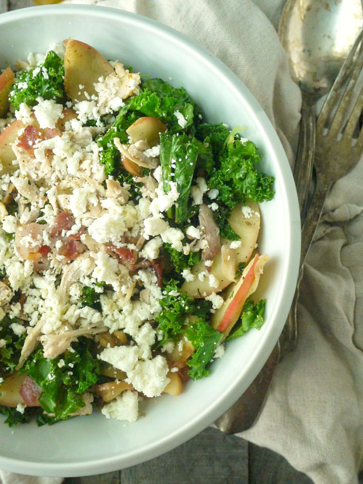 Chicken and Kale Salad with Bacon-Fried Apples and Walnuts 3 adjusted