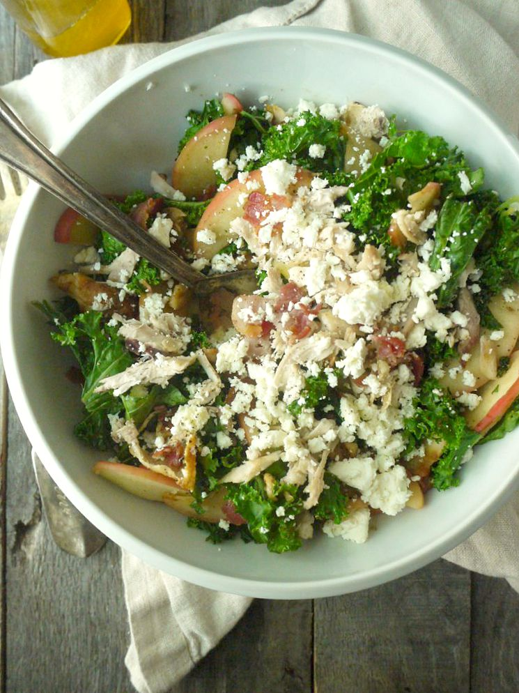Chicken and Kale Salad with Bacon-Fried Apples and Walnuts 7 adjusted