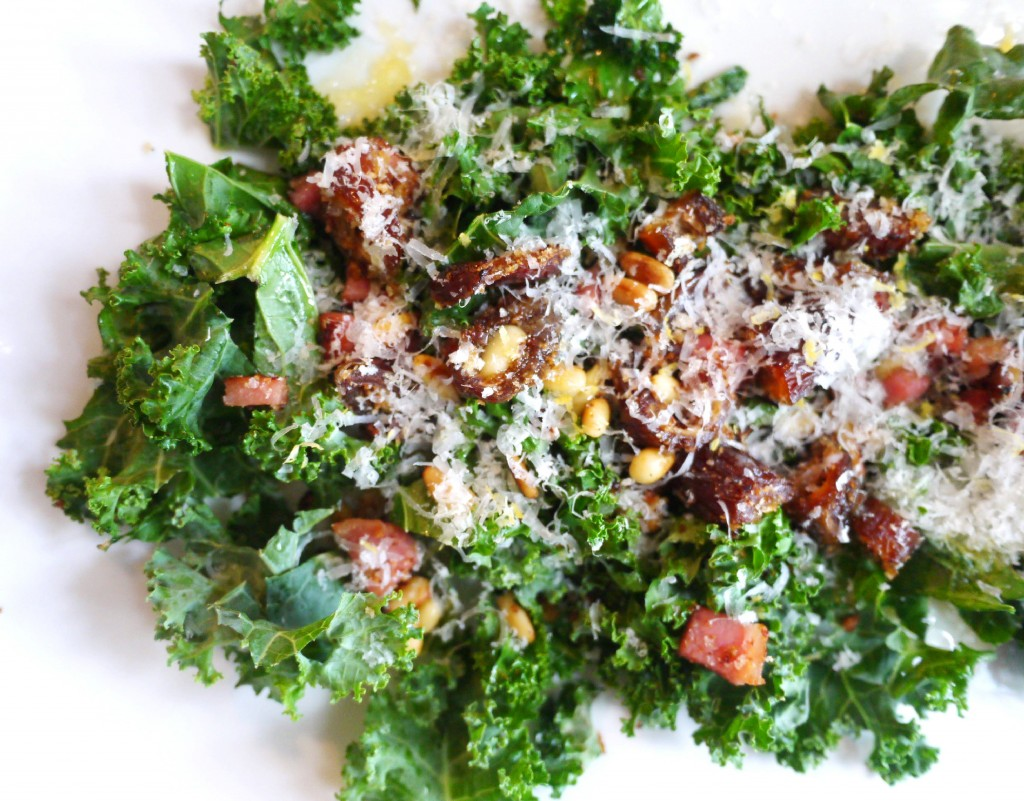 Kale Salad with Pancetta, Dates and Pine Nuts