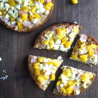 Pita Pizza with Feta Cheese, Canadian Bacon and Yellow Pepper