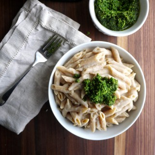 "Garlicky White Bean Pasta ""Faux-Fredo"" with Kale Pesto (V, DF)"