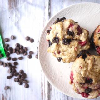 Vegan Raspberry and Carob Chip Muffins