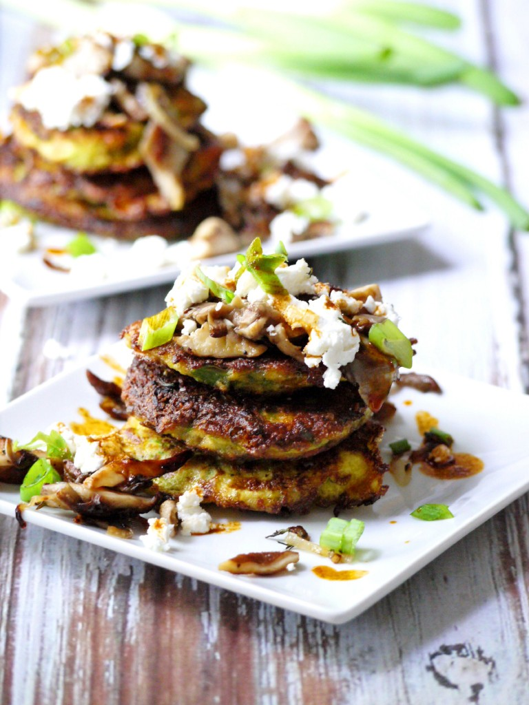 Zucchini Pancakes with Wild Mushrooms, Crumbled Goat Cheese & Garlic ...