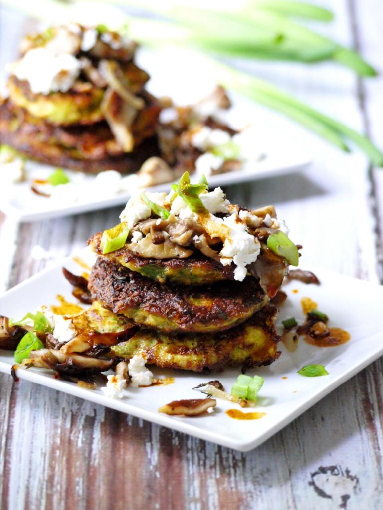 zucchini pancakes with wild mushrooms goat cheese and garlic chili oil ...