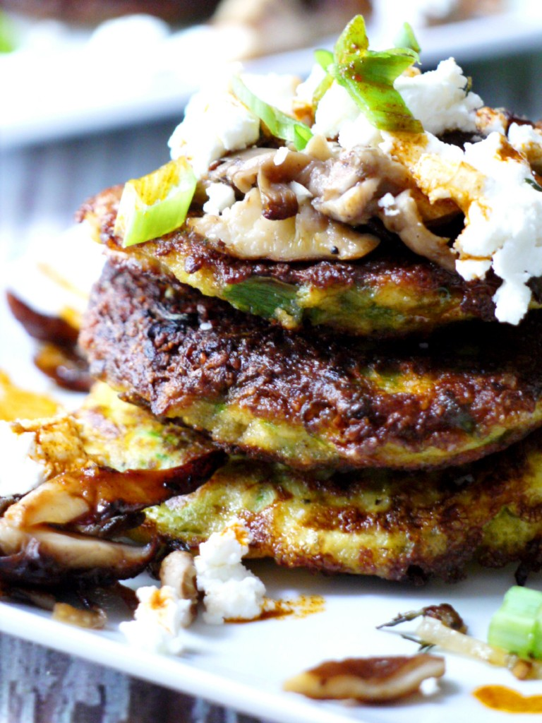 Zucchini Pancakes with Wild Mushrooms, Crumbled Goat ...