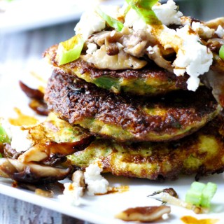 Zucchini Pancakes with Wild Mushrooms, Crumbled Goat Cheese & Garlic Chili Oil
