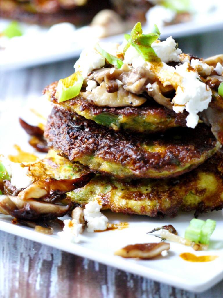 ... Pancakes with Wild Mushrooms, Crumbled Goat Cheese & Garlic Chili Oil