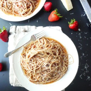 Strawberry Pasta with Pecorino