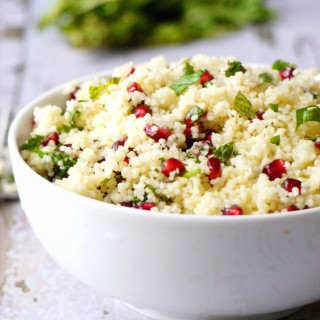 Yellow Couscous with Pomegranate and Mint Citrus Dressing