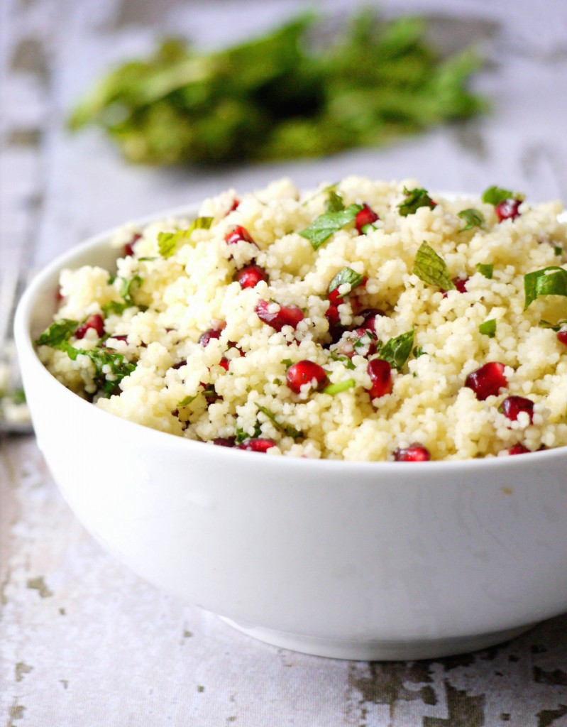 yellow couscous salad with pomegranate dressing 7