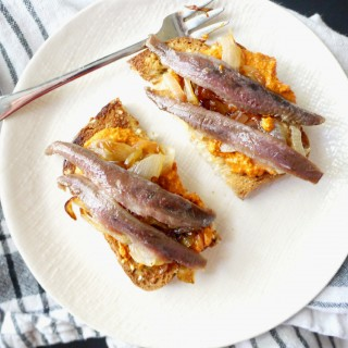 Anchovy Toast with Caramelized Onions and Pimiento Spread (An Afternoon Pintxo)