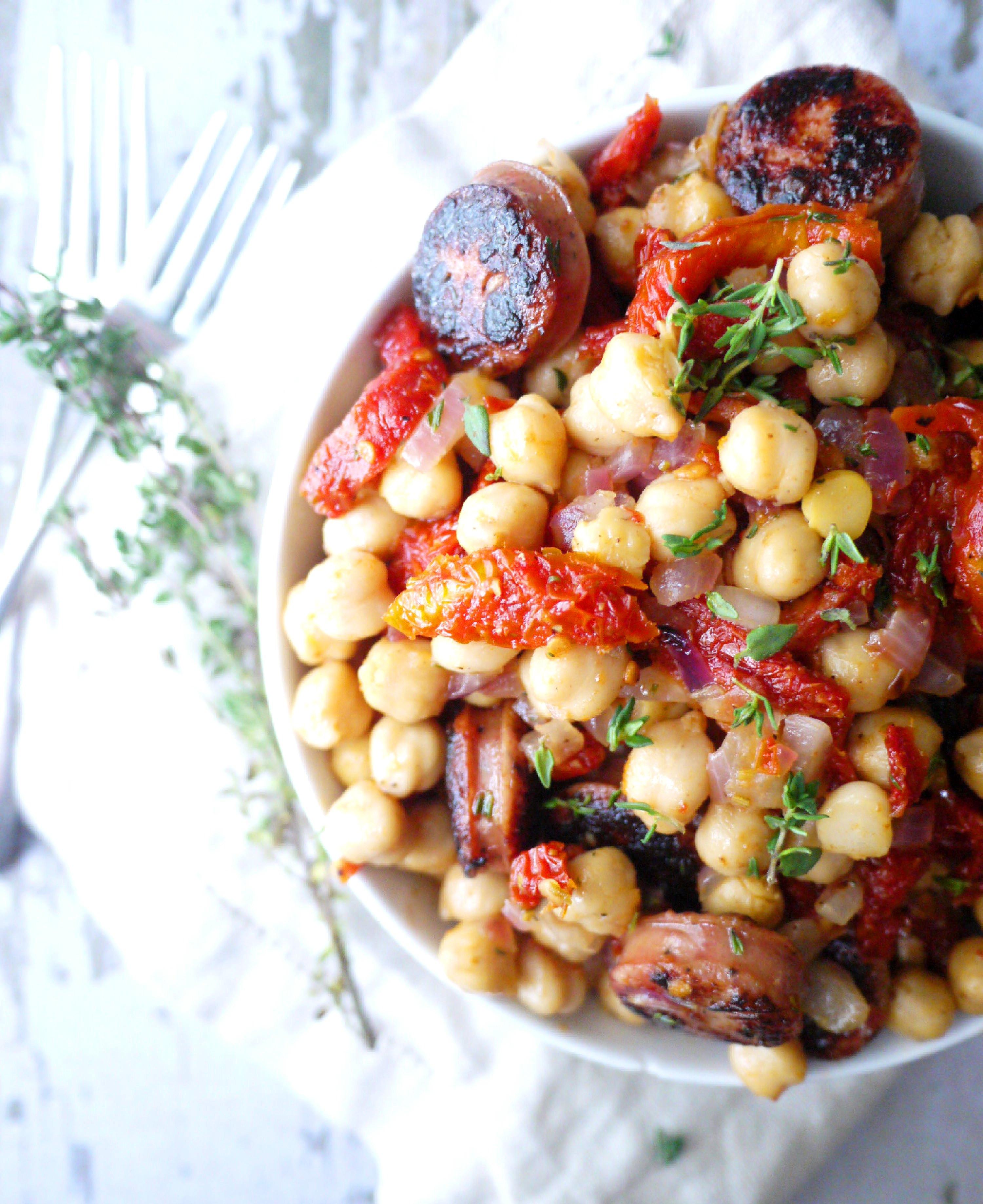 mediterranean chicken sausage and chickpea salad 3
