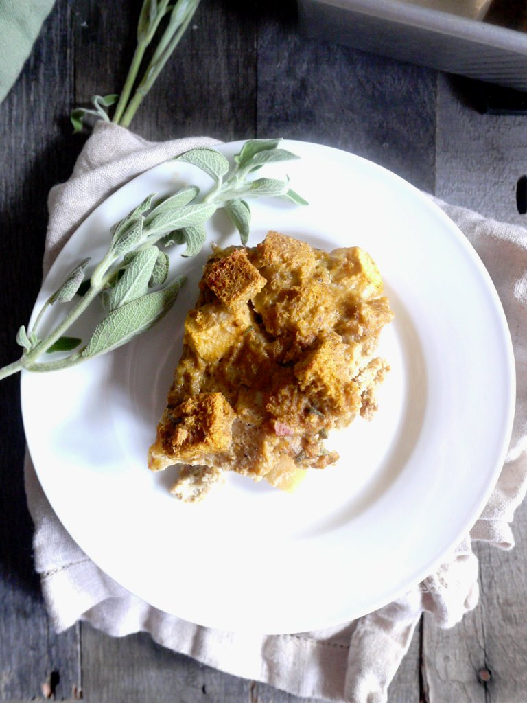 pumpkin sausage bread pudding 3