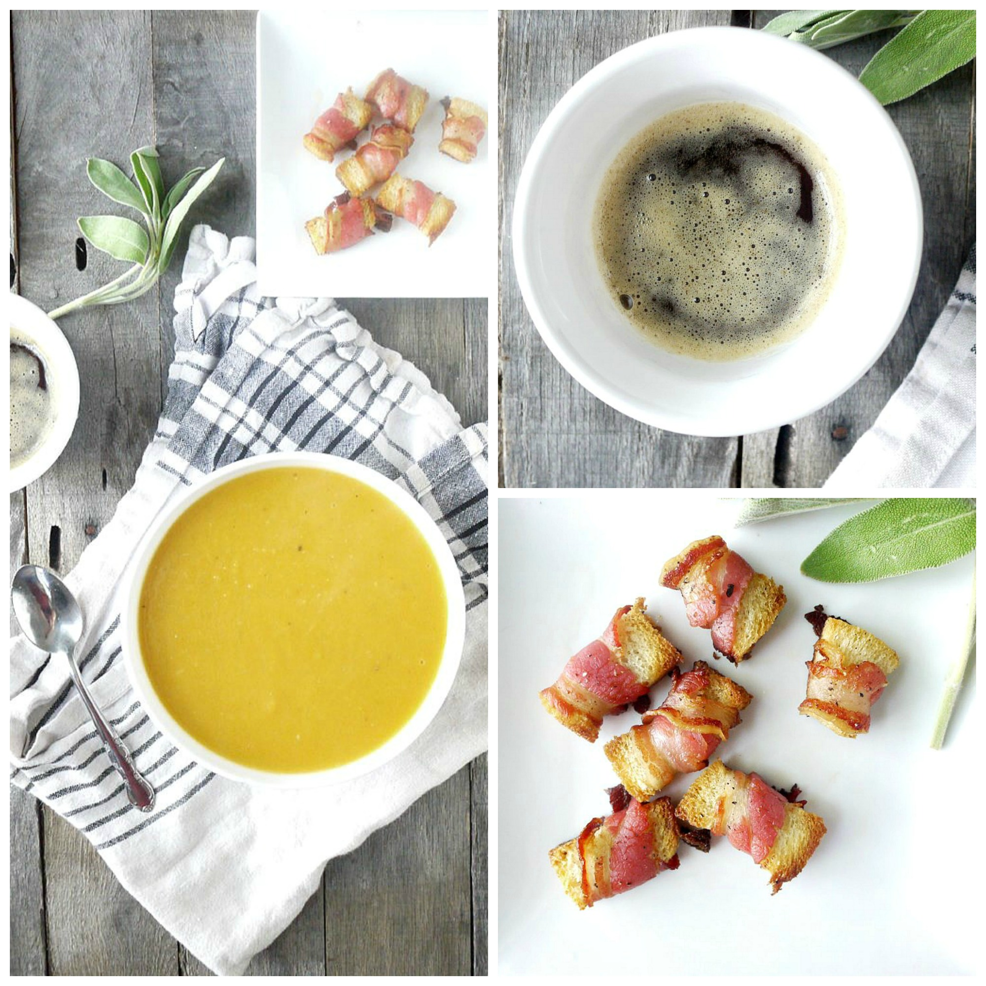 Sweet Potato-Apple Soup with Sage Brown Butter and Pancetta Croutons