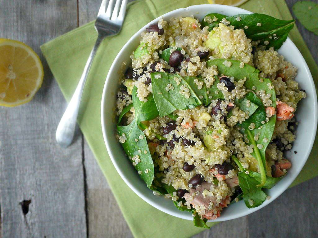 Salmon Spinach Quinoa Salad