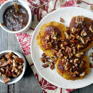 Gluten-Free Sweet Potato Cakes with Spiced Pecans and Apple Butter