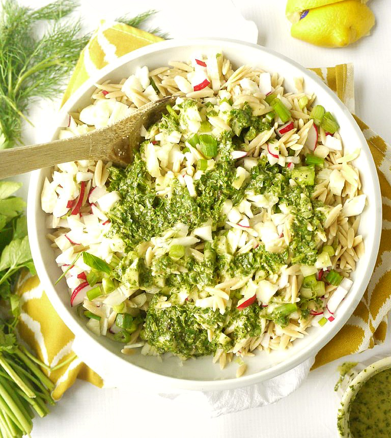 Radish and Fennel Orzo Salad with Parsley Vinaigrette 3