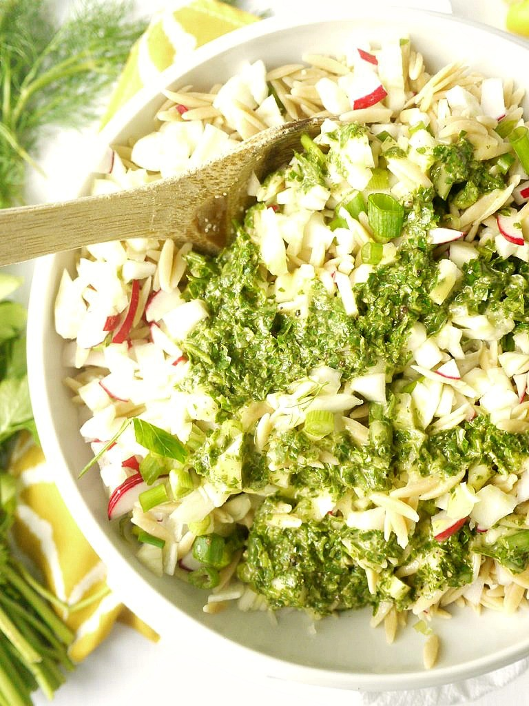 Radish and Fennel Orzo Salad with Parsley Vinaigrette 4