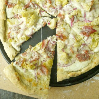 Artichoke and Prosciutto Pizza with Yogurt-Feta Sauce