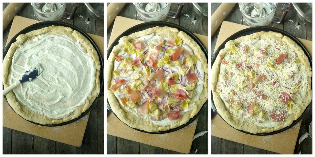 artichoke and prosciutto pizza with yogurt-feta sauce collage