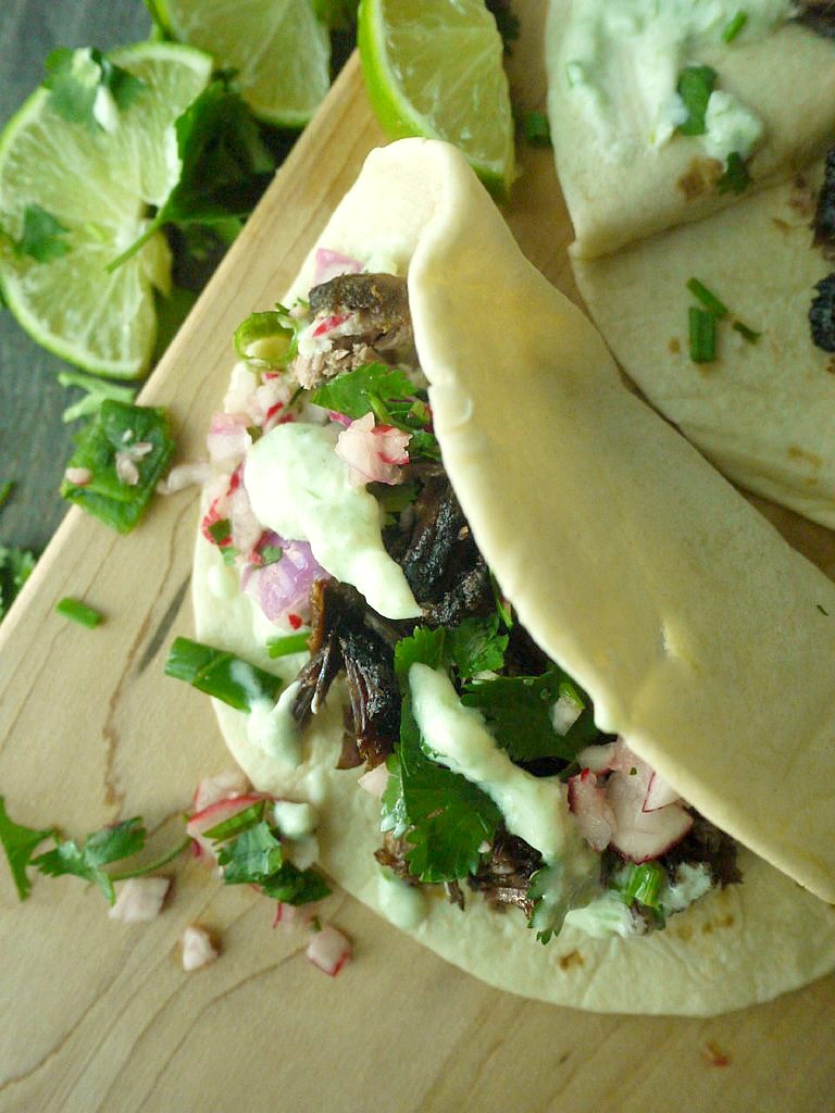 beer braised lamb tacos with chive tzatziki 14
