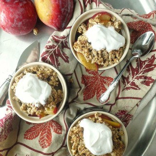 Paleo Plum Crumble with Maple-Ginger Coconut Cream