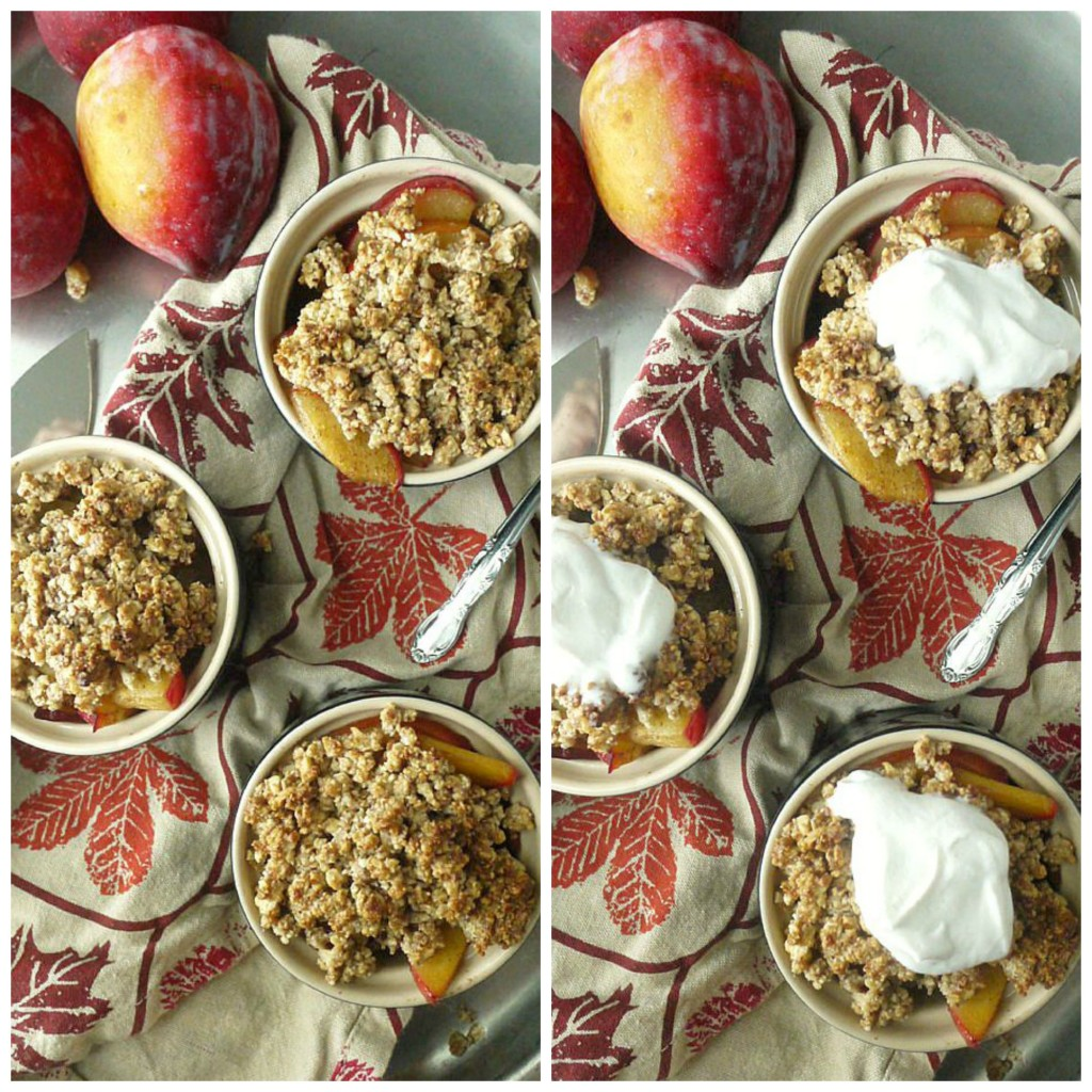 paleo plum crumble with maple ginger coconut cream collage 1