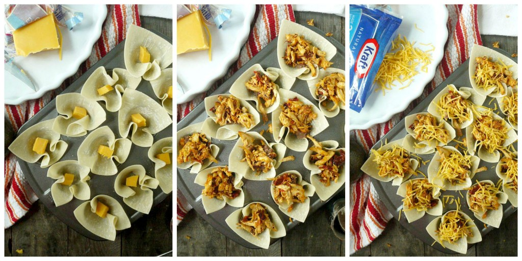 Cheesy Chipotle Chicken Taco Cups with Red Pepper-Gaucamole collage