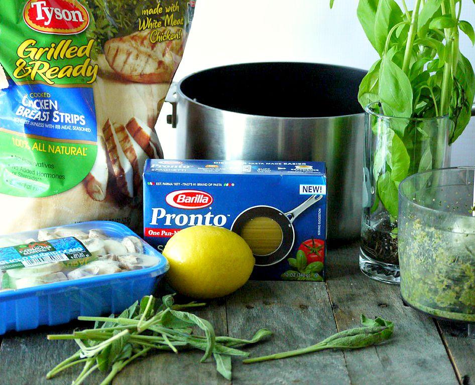 One Pot Chicken and Mushroom Pasta with Sage Pesto 1 adjusted