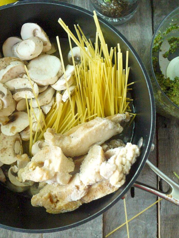 One Pot Chicken and Mushroom Pasta with Sage Pesto 3 adjusted