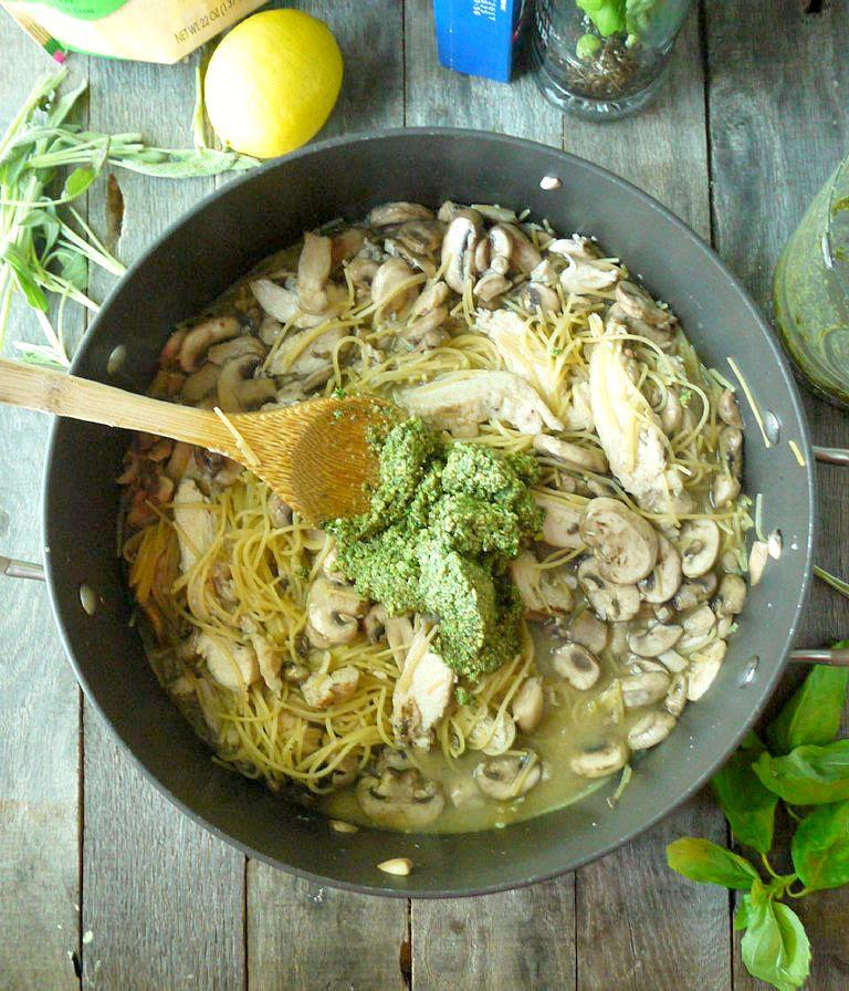One Pot Chicken and Mushroom Pasta with Sage Pesto 5 adjusted