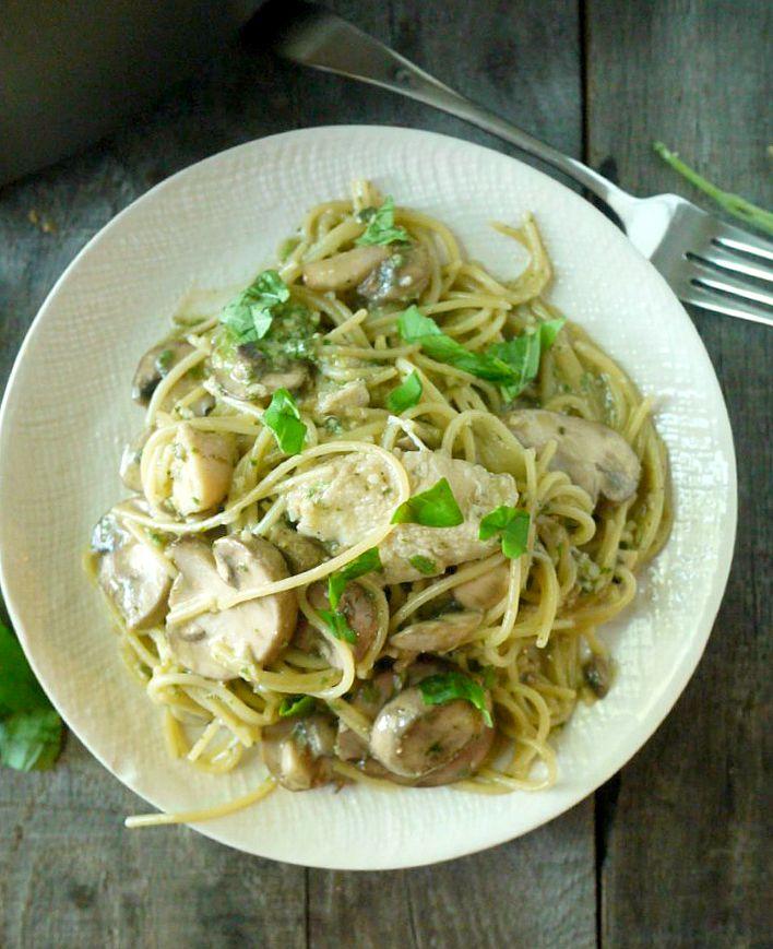 One Pot Chicken and Mushroom Pasta with Sage Pesto 7 adjusted