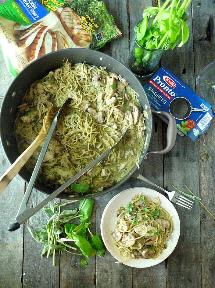 One Pot Chicken and Mushroom Pasta with Sage Pesto 8 adjusted