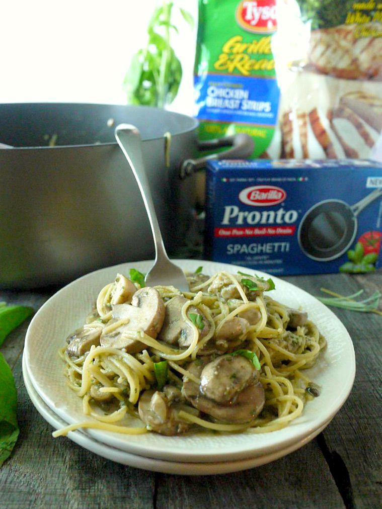 One Pot Chicken and Mushroom Pasta with Sage Pesto 9 adjusted