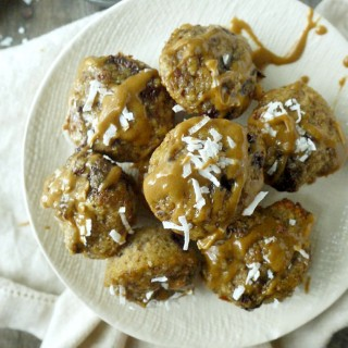 Paleo Chocolate Banana Bread Bites with Orange-Coconut Glaze