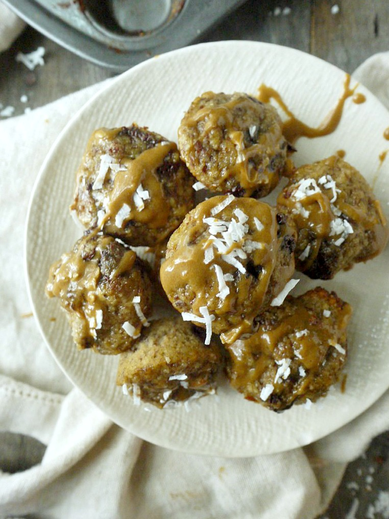 paleo chocolate banana bread bites with coconut-orange glaze 12